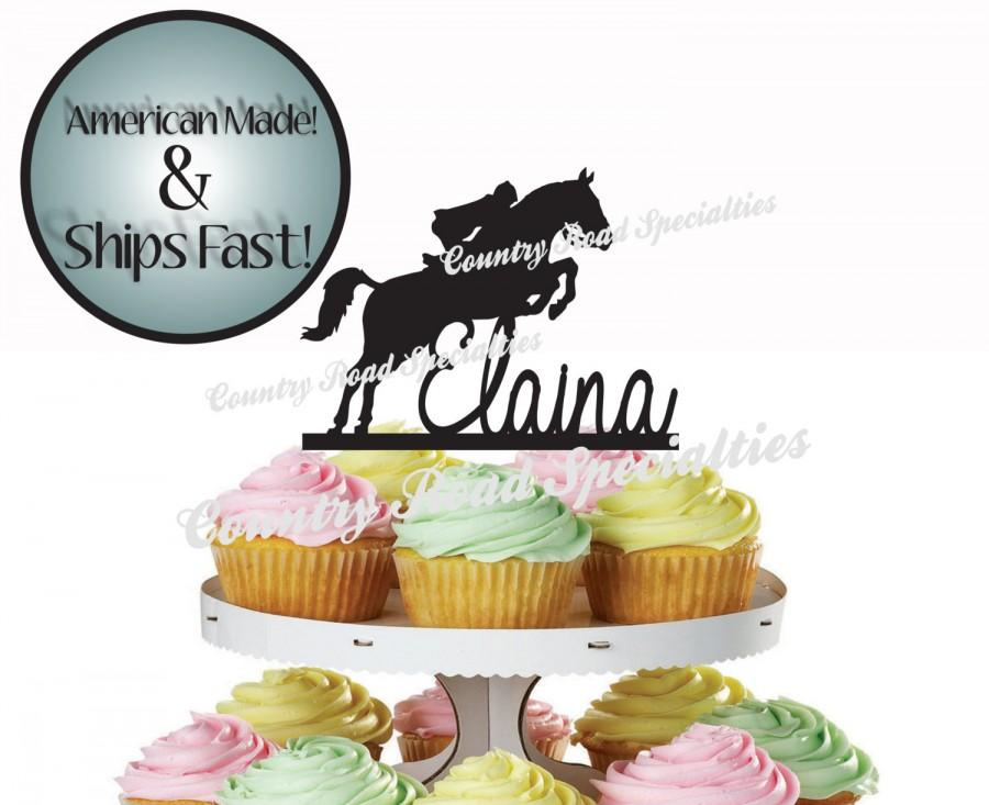 Western Jumping Horse With Rider And First Name Birthday Cake Or Cup Topper