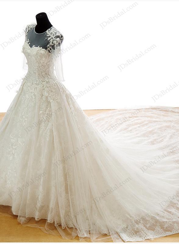 زفاف - IS048 Luxury lace princess wedding dress with big cathedral train