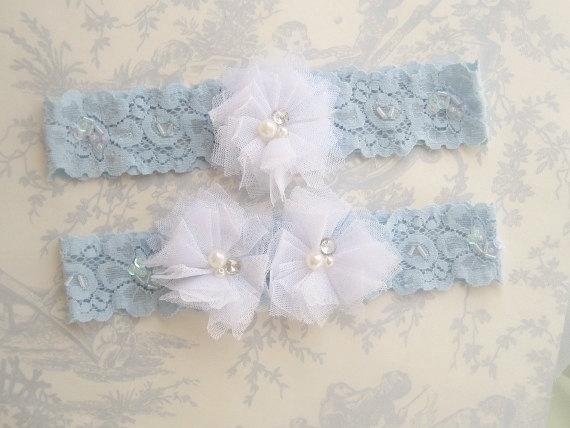 Свадьба - Wedding Garter, Blue Garter Set with Toss Garter Tulle flowers and embellishments