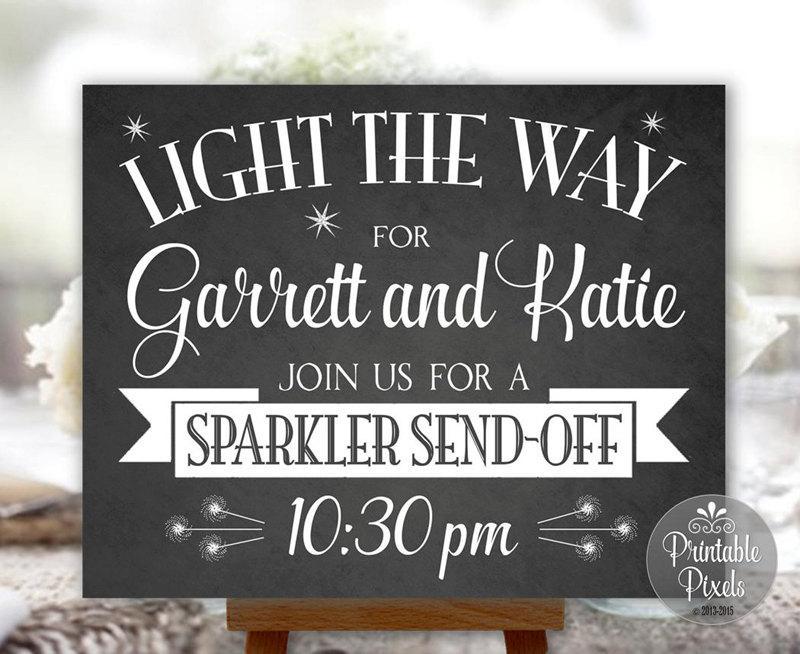 Sparkler Send Off Wedding Sign Chalkboard Printable Personalized With Names And Time Digital SPK1C