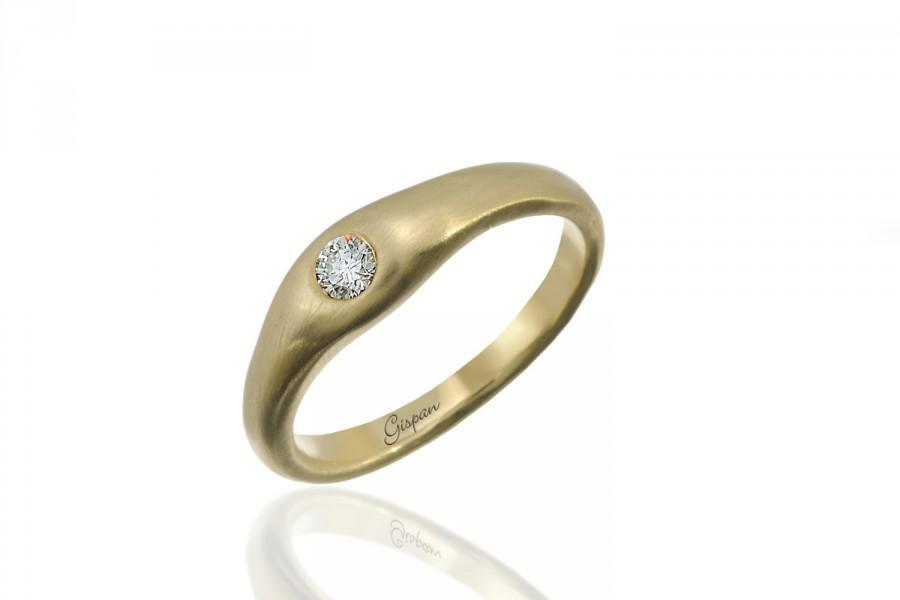 Свадьба - Matte engagement ring, Wedding Ring, Anniversary Ring, Art Deco Ring, Halo Setting Ring, Engagement Band, Yellow Gold ring, Gispandiamonds