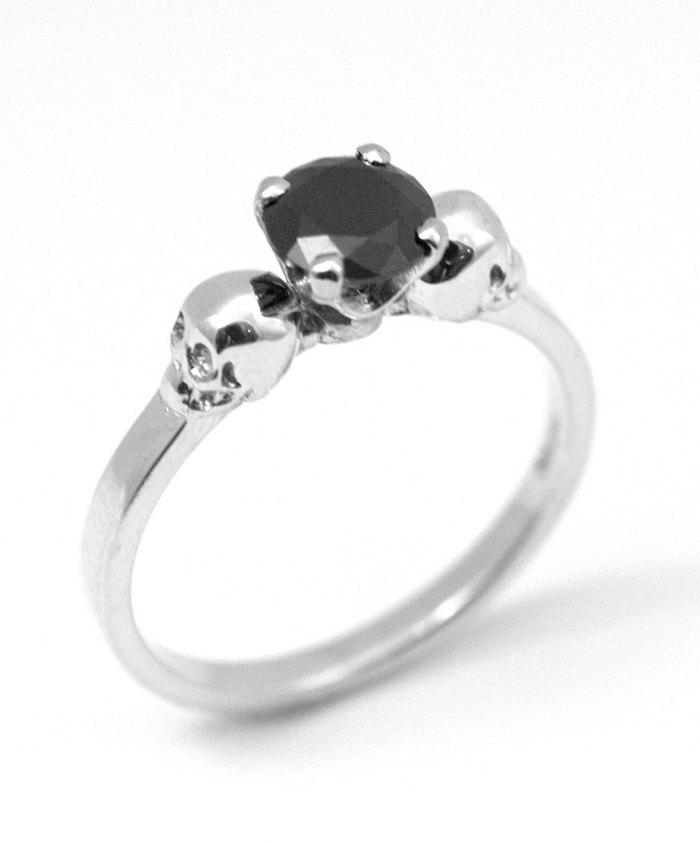 Свадьба - Skull Ring Sterling Silver Diamond-Unique Hand Crafted Engagement Ring set with Black Diamond