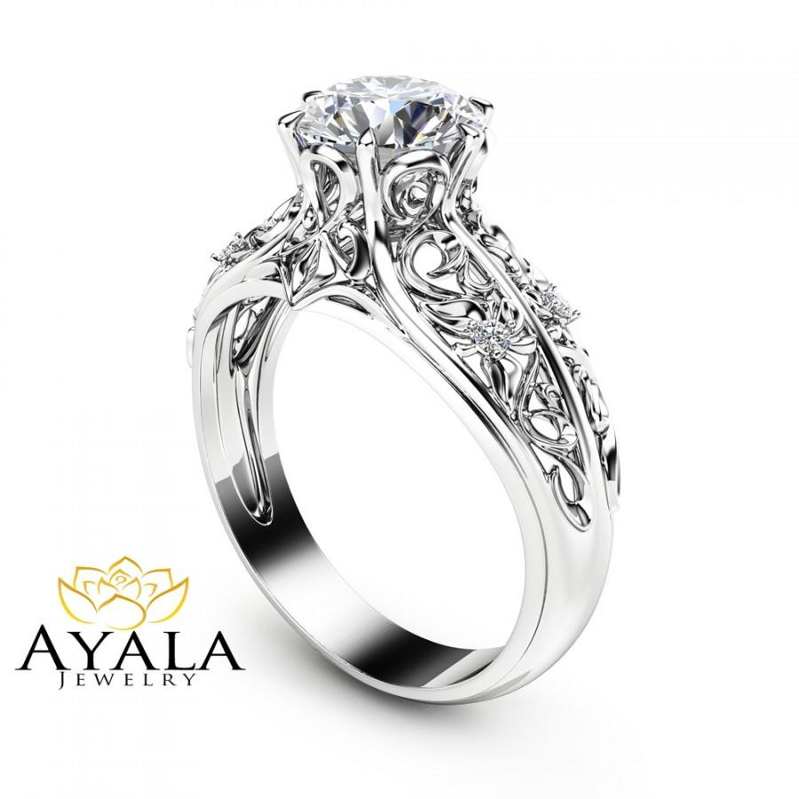 Unique Engagement Ring 14k White Gold Diamond Filigree Design