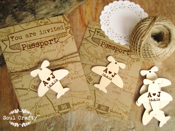 Wedding - Airplane Wooden tag Personalized Engraved Destination Wedding Gift Tags Boarding pass Passport Travel Embellishment Pack of 30/ 50/ 80/ 100