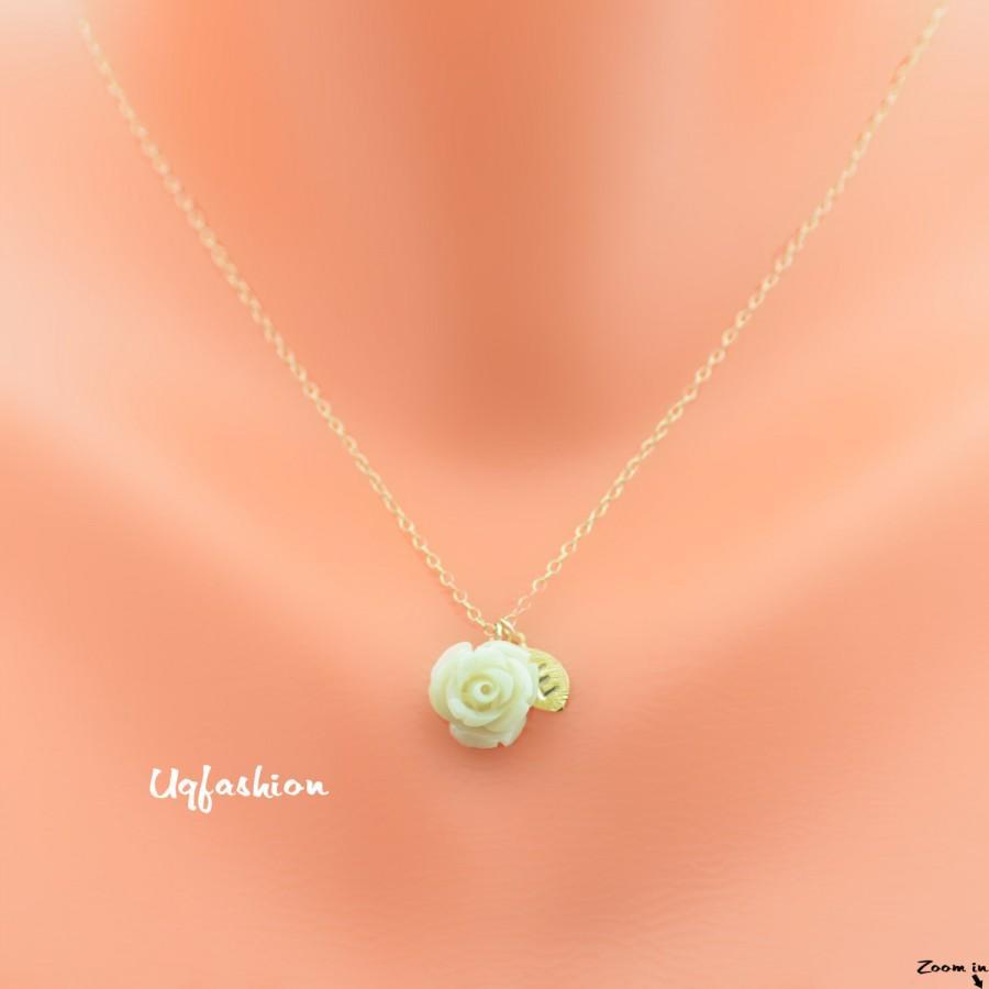زفاف - flower girl gift, wedding jewelry, bridesmaid necklace, bridesmaid gift, personalized, bridal necklace, flower girl necklace, bridesmaid