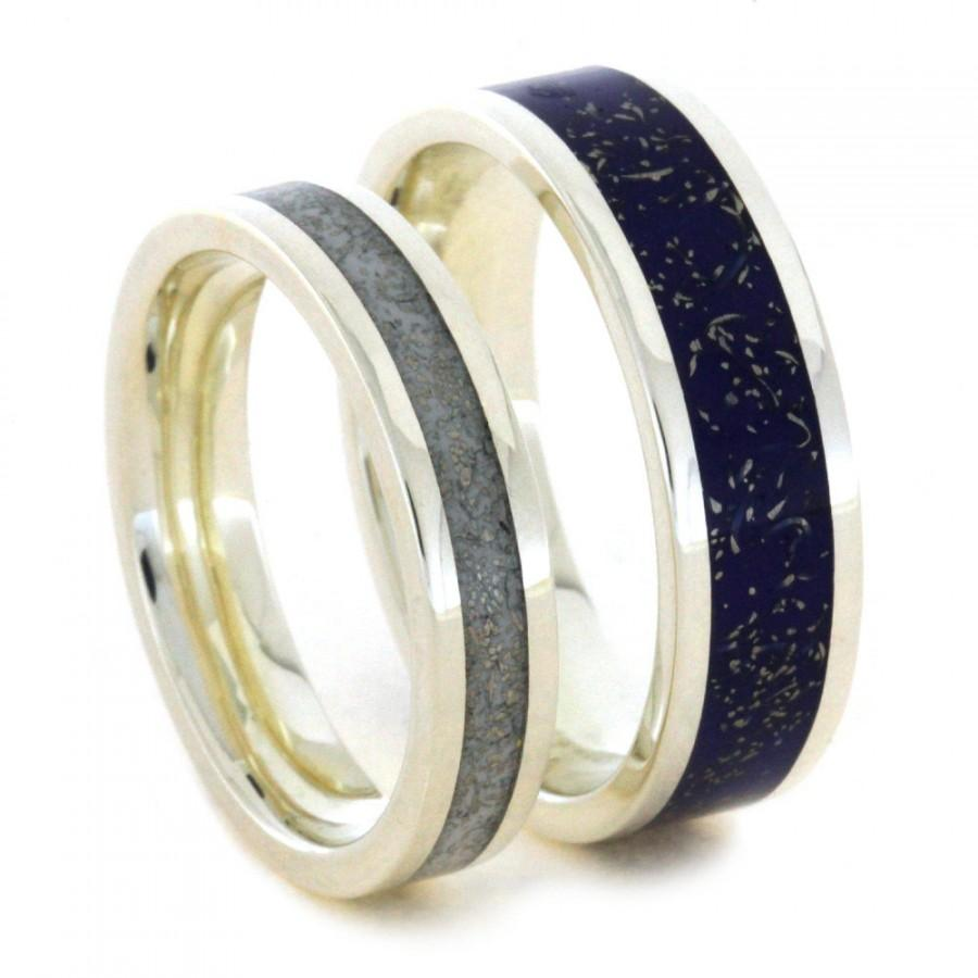 His And Hers Sterling Silver Wedding Band Set Stardust Rings With 14k White