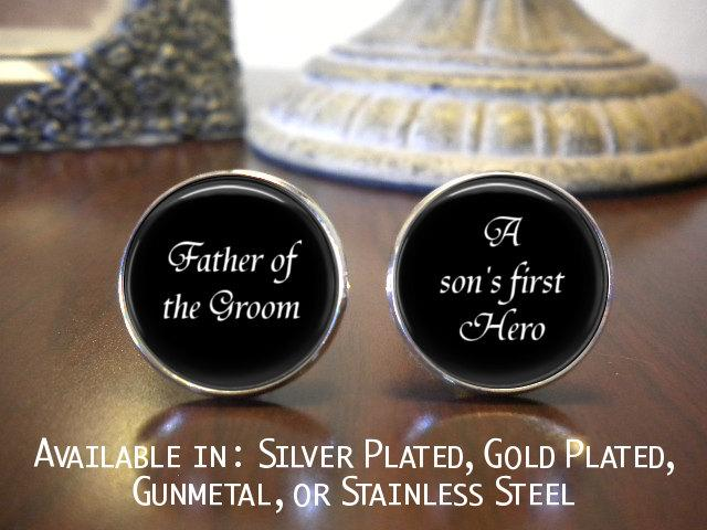 Father Of The Groom Cufflinks Personalized Gift Wedding Jewelry A Sons First Hero