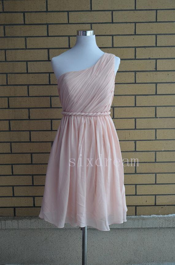 زفاف - One shoulder Short Knee Length Prom Dress,Light Blush Pink Chiffon Bridesmaid Dress
