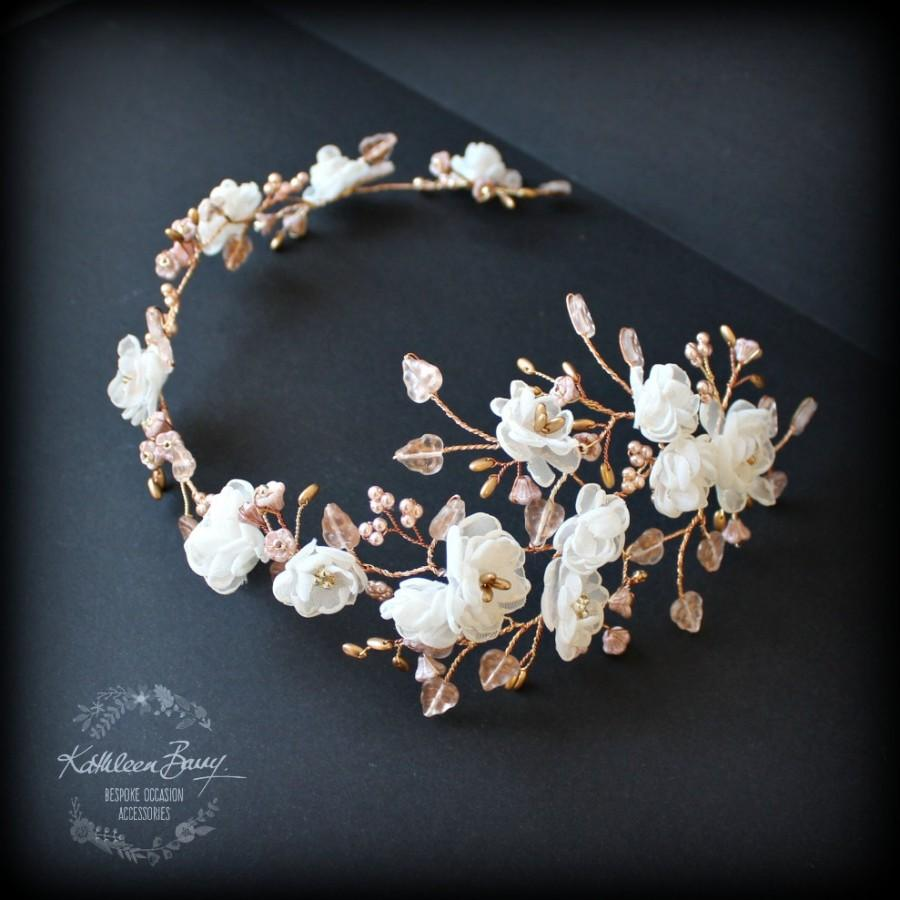 Mariage - R2300 Rose gold flower wedding bridal hair accessory accessories - wedding headband - hair wreath - bride rose gold flower crown - ivory