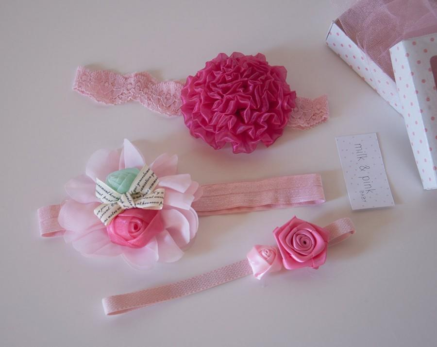 Свадьба - Baby Headband Set, Flower Headband Set, Set of 3 Baby Headbands, Flower Girl Headbands, Vintage Style Baby Headbands, Gift Set