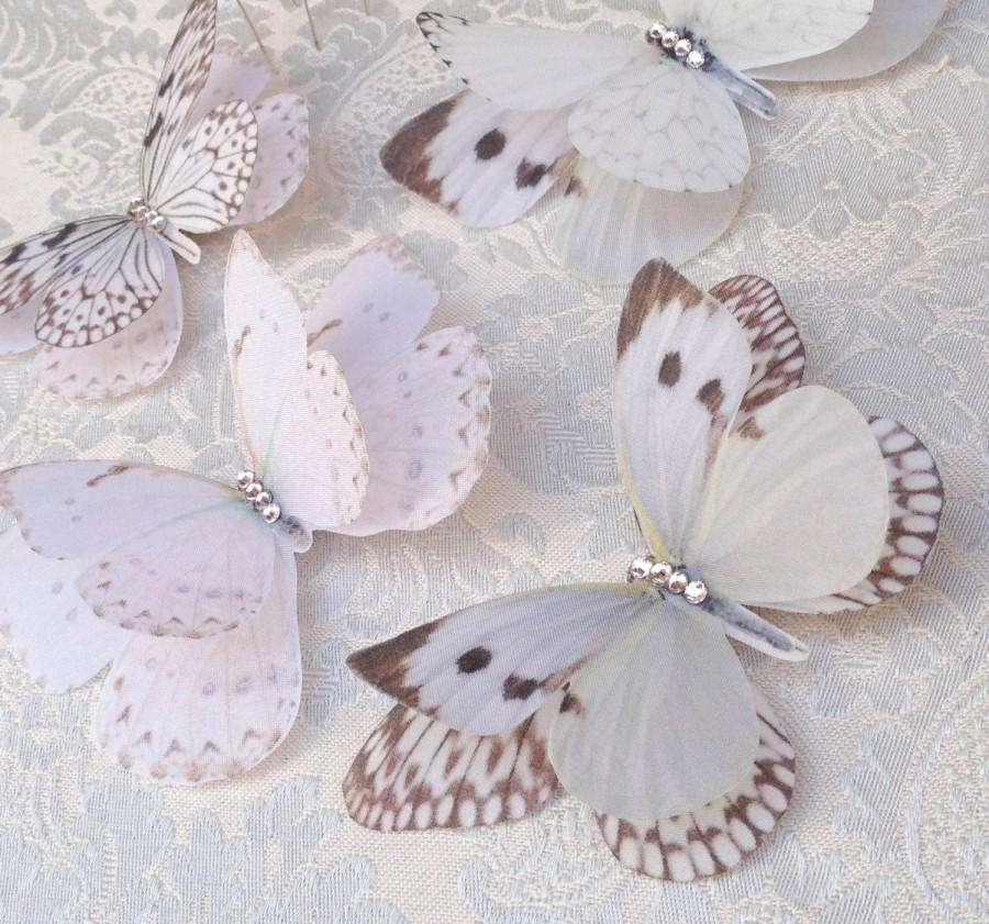 Свадьба - Silk Butterfly hair clips with Swarovski Crystals, delicate and fluttery in shades of cream and ivory.