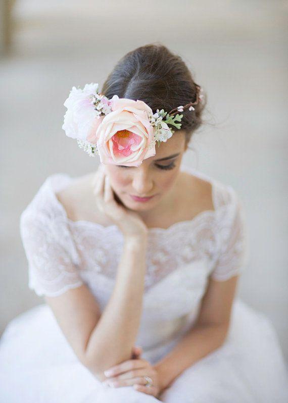 زفاف - Big Flower Crown, Bridal Headpiece, Floral Crown, Hair Wreath, Pink Peony, White Peony, Wedding Hair Accessory, Statement Headpiece, Costume