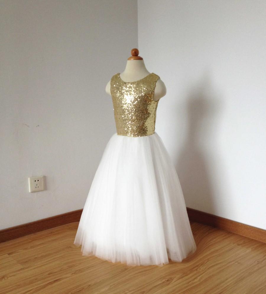 346f70afb85 Floor-length Gold Sequin Ivory Tulle Flower Girl Dress  2512484 ...