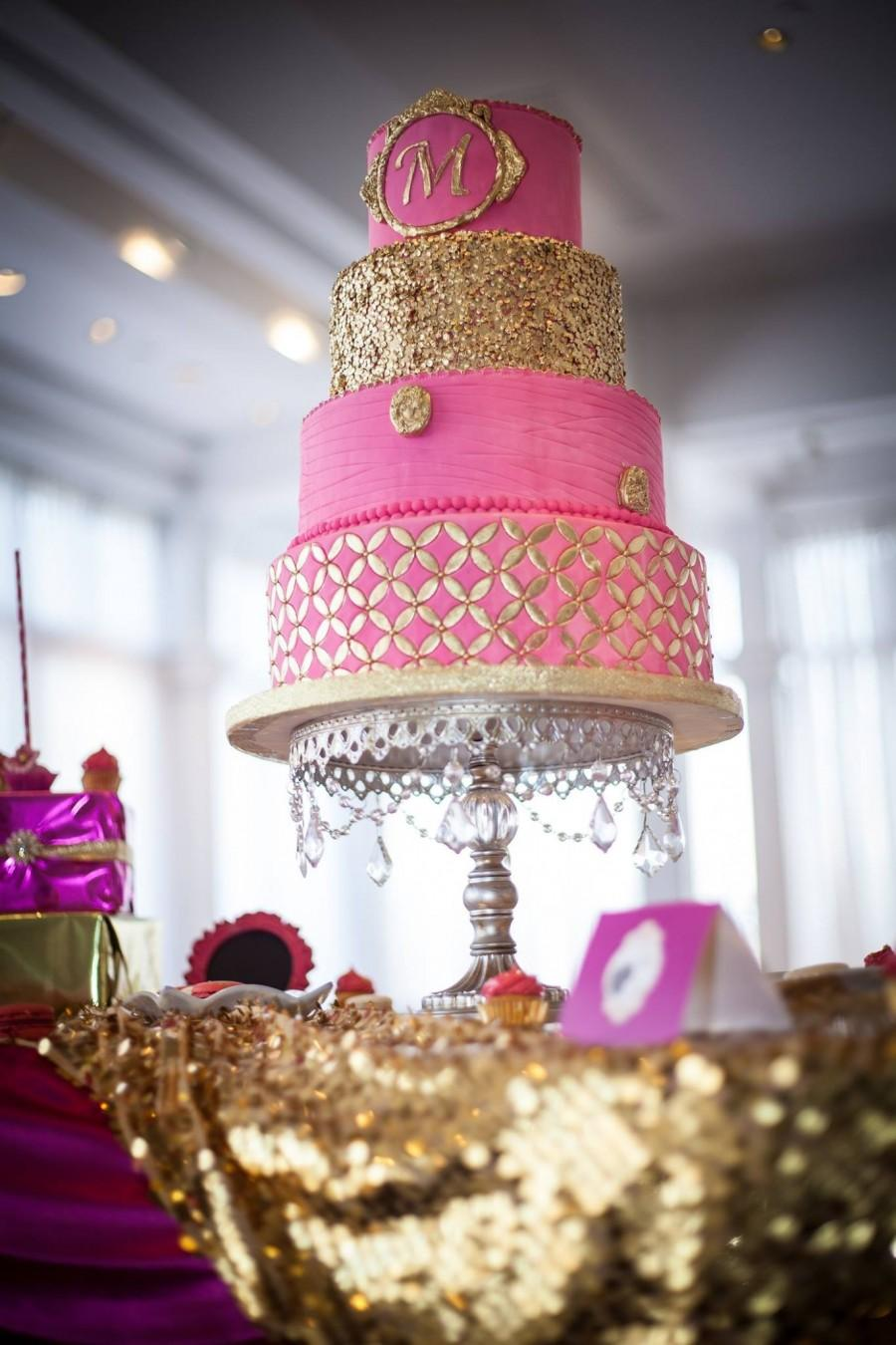 Pink And Gold Wedding Cake #2512494 - Weddbook