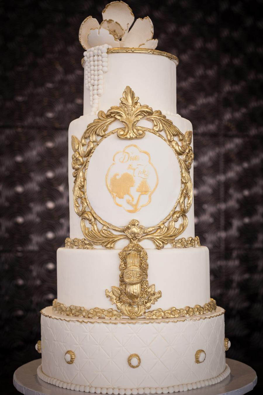 Gold & White Wedding Cake #2512495 - Weddbook