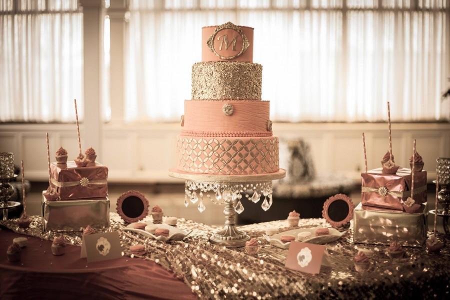 Wedding - Pink  & gold wedding cake