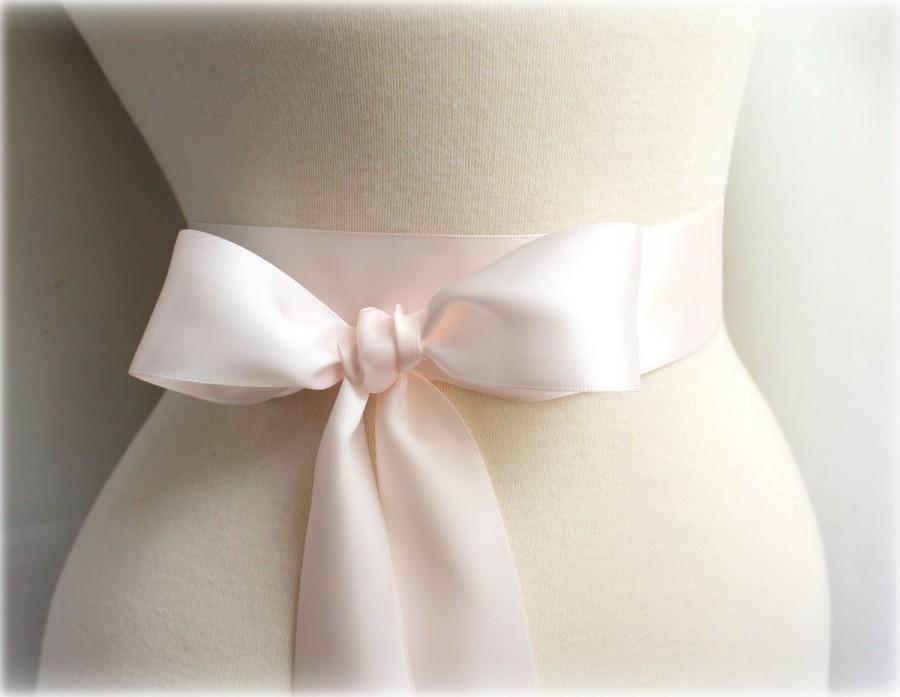 زفاف - Pale Blush Pink Sash Belt - Double Faced Satin Ribbon Sash - Bridal Bridesmaids Flower girl Sashes - Many Colors