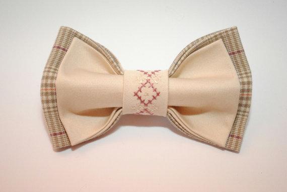 زفاف - Men's bow ties Beige plaid bow tie with embroidery Unique gift for men Elegant bow tie for men Designed by Accessories482 As bro Birthday
