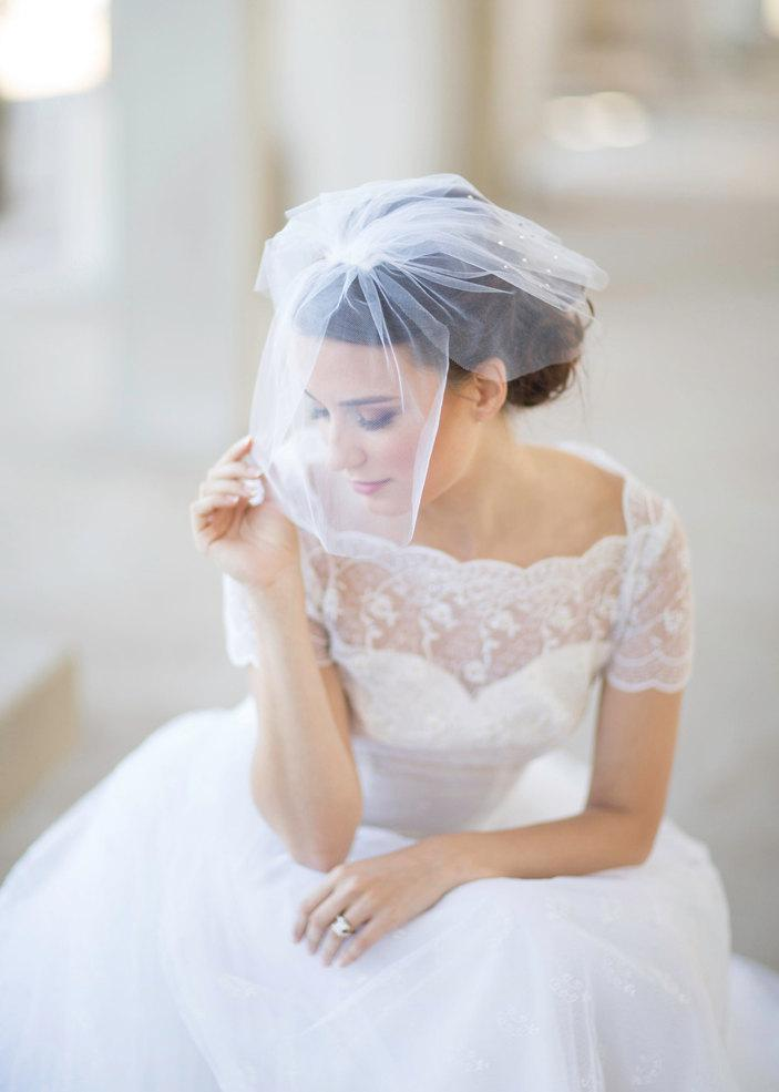 Свадьба - Bridal crystal mini birdcage veil, four short layers, white or ivory  wedding veil, crystals adornment on fine tulle Style 619