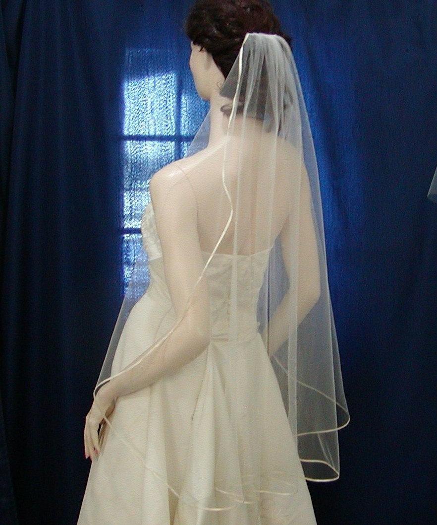 زفاف - Bridal veil wedding veils Fingertip Cascading /Waterfall Style  trimmed with the tiniest of Satin Ribbon