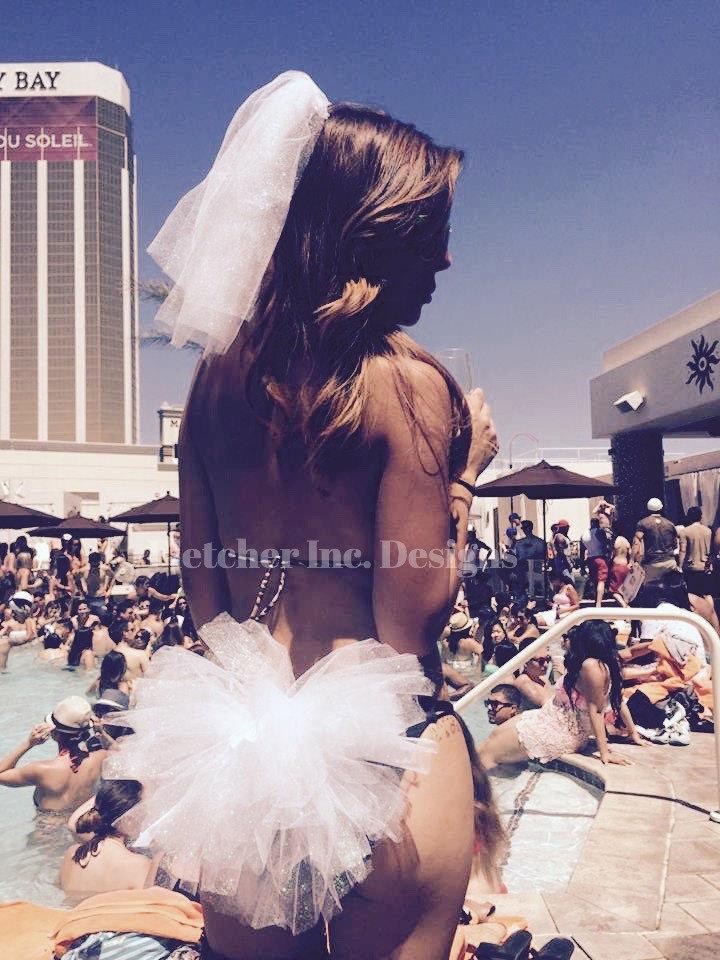 Mariage - Bachelorette Bikini Tutu Vegas Great For A Pool Party, Beach, Club, Dancing,Bridal Party, Bride to be.