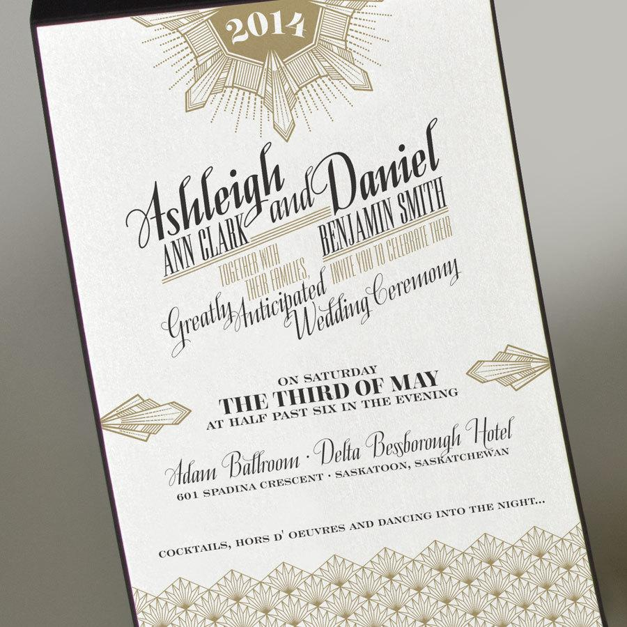 Art Deco Gold Wedding Invitation Great Gatsby Vintage
