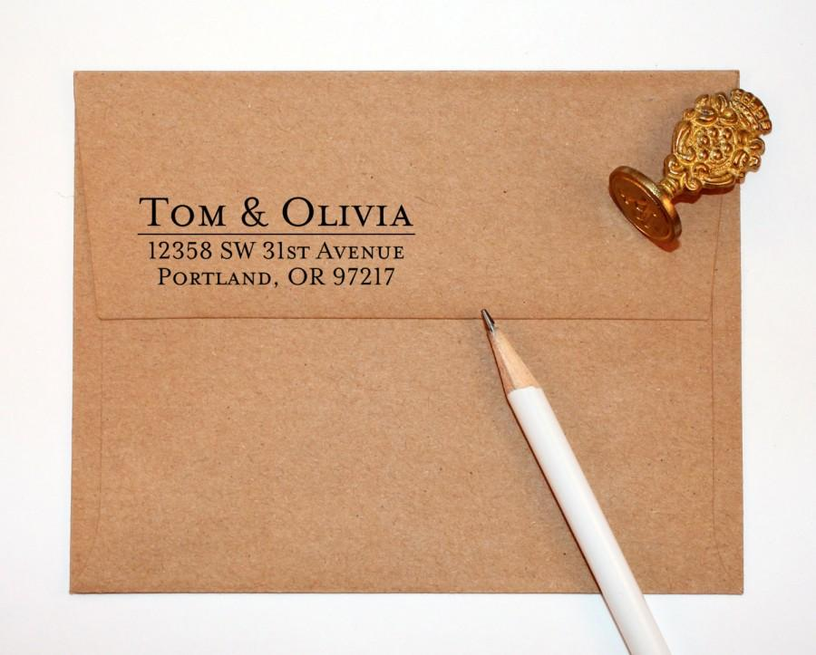 Свадьба - Return Address Stamp with traditional font, black self inking stamp, rubber stamp wood handle