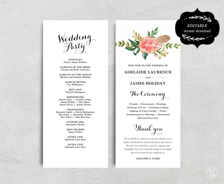 Printable Wedding Program Template Floral Wedding Program Boho