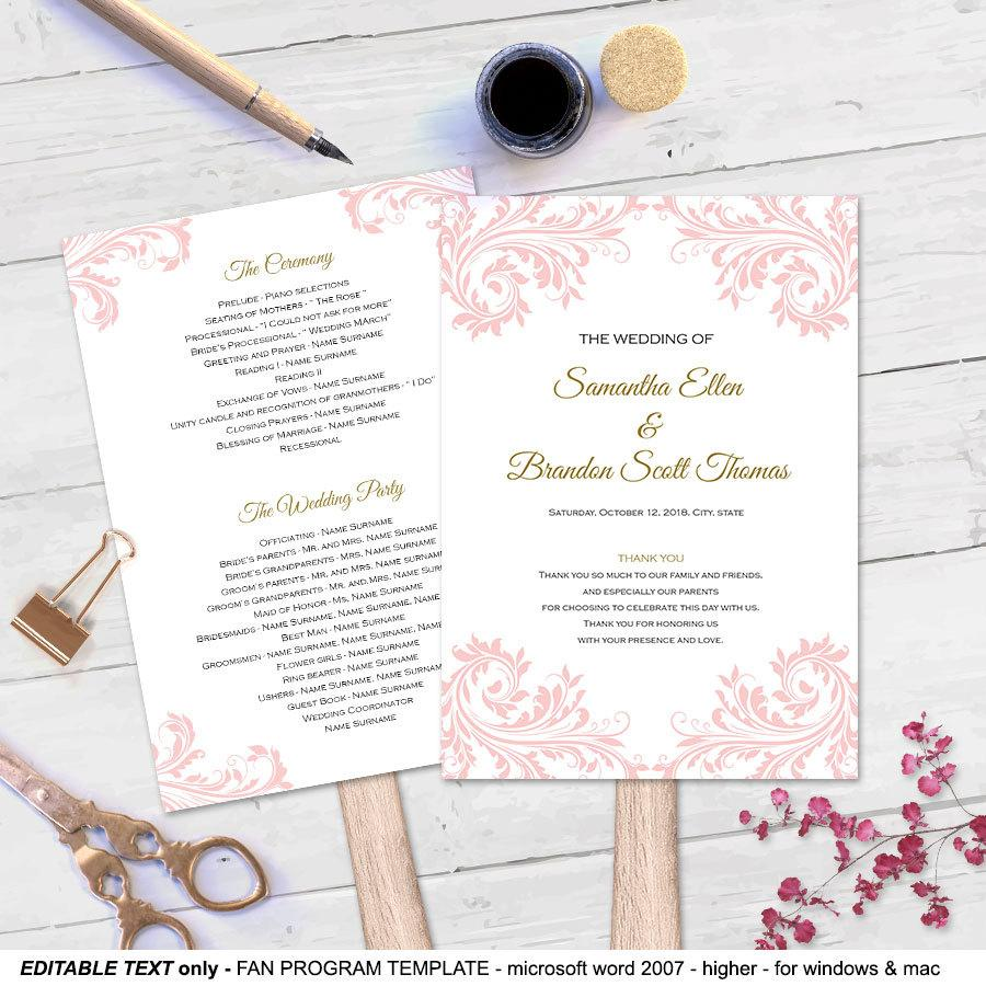 invitation blush wedding program fan template 2512602 weddbook