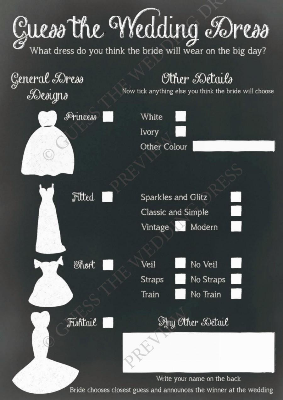 e50872bb3fc Guess The Wedding Dress ® - Hen Party Game or Accessory for Wedding  Invitations 25 A5 Sheets in Pad