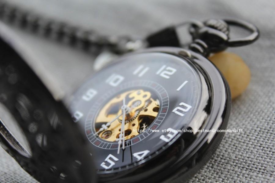 gunmetal skeleton pocket watch groomsmen groom gifts mechanical steampunk custom engraved anniversary gift for him