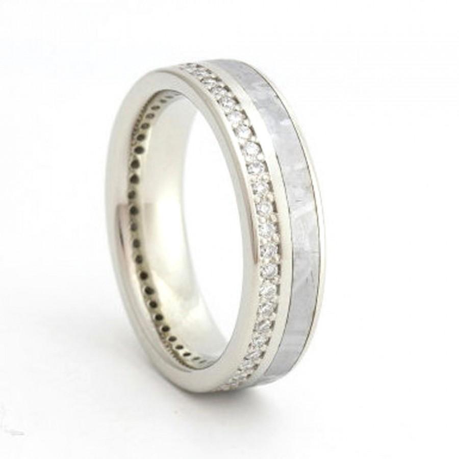 Mariage - 14K White Gold Diamond Eternity Band with Meteorite inlay-Womens Wedding Band