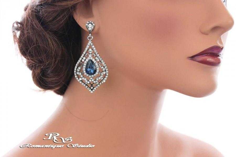 Navy Blue Bridal Earrings Shire Crystal Wedding Something Rhinestone Bridesmaid Prom 1351