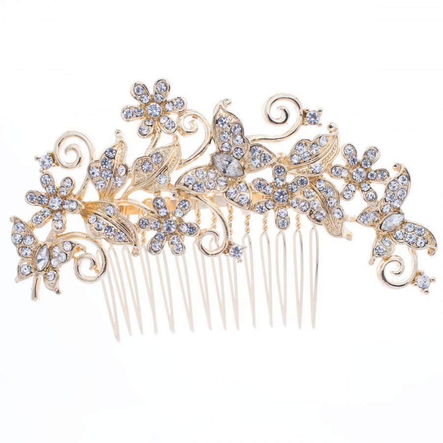 Свадьба - Butterfly Hair Comb Flower Hairoins for Bridal Wedding Hair Jewelry Accessories with Rhinestone Crystal FA3238
