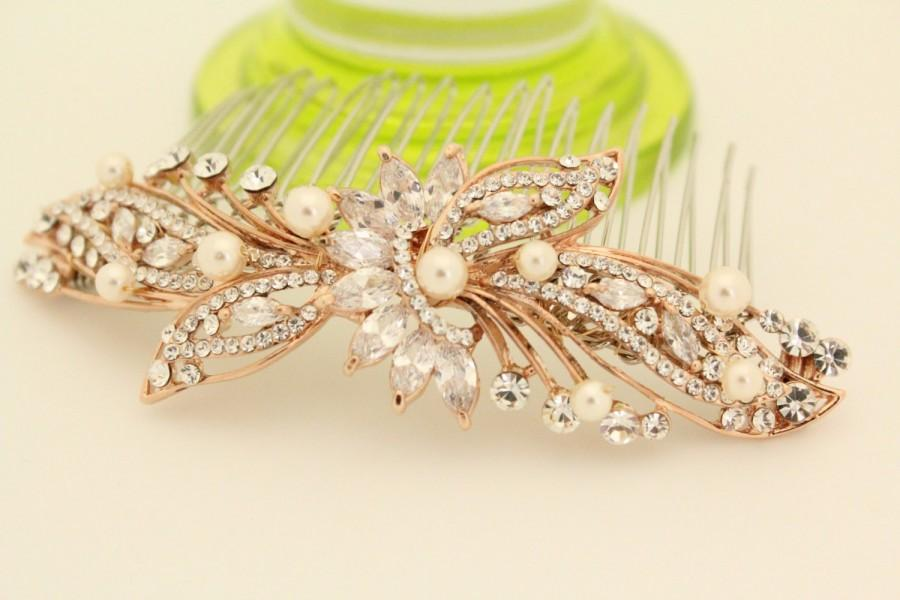 Bridal Hair Comb Rose Gold Wedding Accessories Piece Decorative Barrettes Clips Headpiece