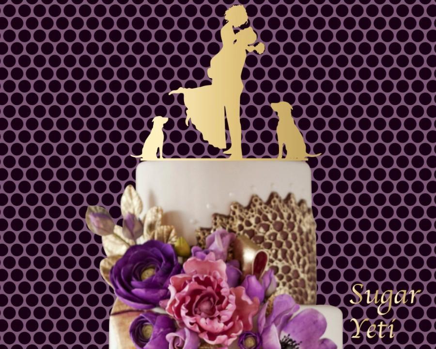 زفاف - Sugar Yeti Brand #17 Made in USA Cake Toppers Bride and Groom With Dogs Wedding Cake Toppers Wedding Decoration Topper
