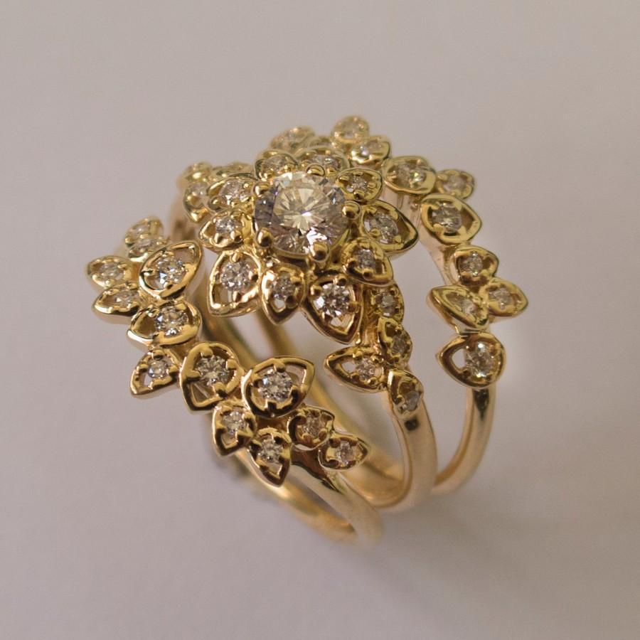 Wedding - Diamond Art Deco Petal Engagement Set - 14K Gold and Diamond engagement ring, leaf ring, flower ring, antique, vintage, Wedding Set