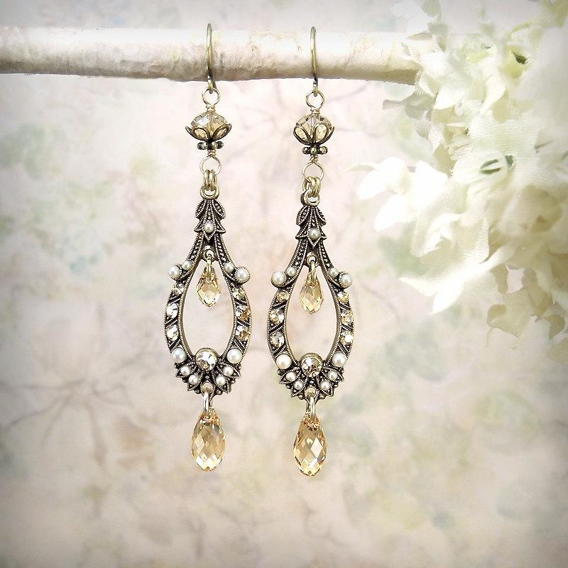 9b5e1adf66979 Ethereal - Champagne Crystal Earrings Romantic Chandelier Earrings ...