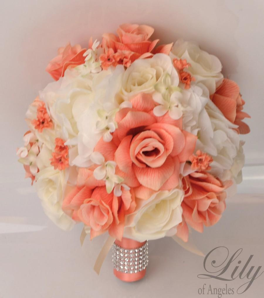 Silk wedding bouquet 11 weddbook 17 piece package silk flowers wedding bouquet artificial bridal party bouquets decoration centerpiece coral ivory lily of angeles ivco04 izmirmasajfo