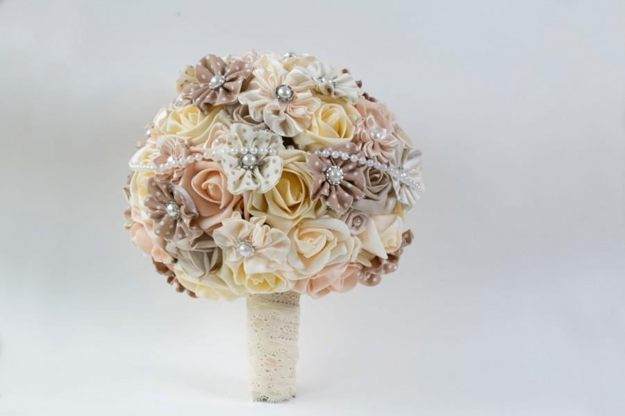 Foam Roses Fabric Satin Flower Bridal Bouquet Pearl Details Cream Peach Tan Wedding Keepsake
