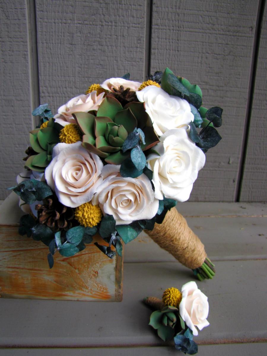 زفاف - Rustic Wedding Bouquet and Boutonniere with Succulents, Roses, Billy Balls, and Pine Cones