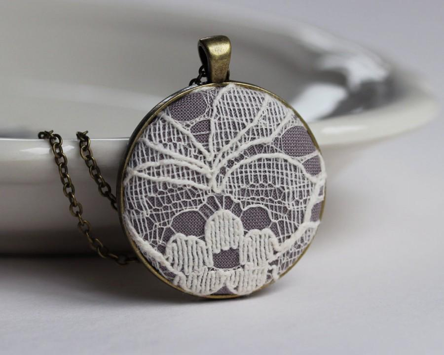 Ivory Lace Pendant, Cotton Anniversary Gift, Gray ...