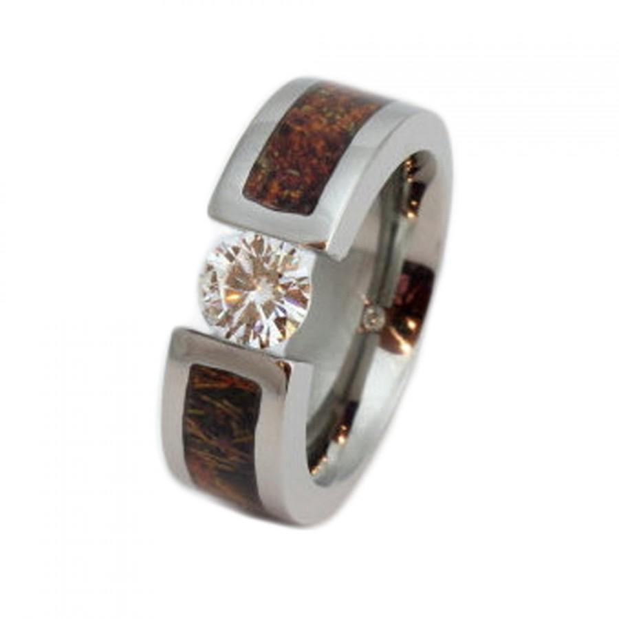 Hochzeit - Titanium Tension Set Ring with Moissanite Stone and a Camouflage Inlay, Ring Armor Included