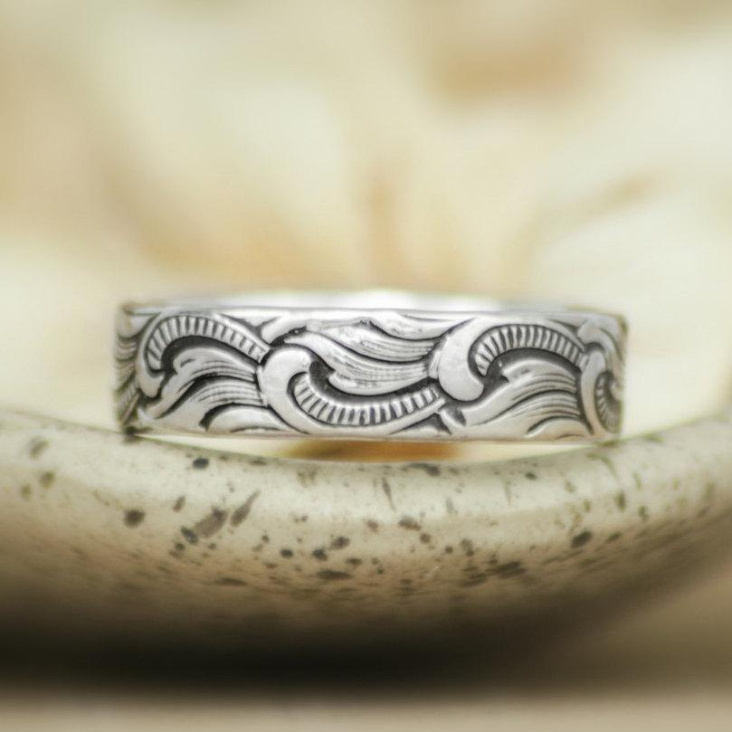 Mariage - Art Nouveau Ocean Waves Wedding Band in Sterling - Silver Sea-Inspired Scrollwork Pattern Band - Unisex Commitment Band or Promise Ring