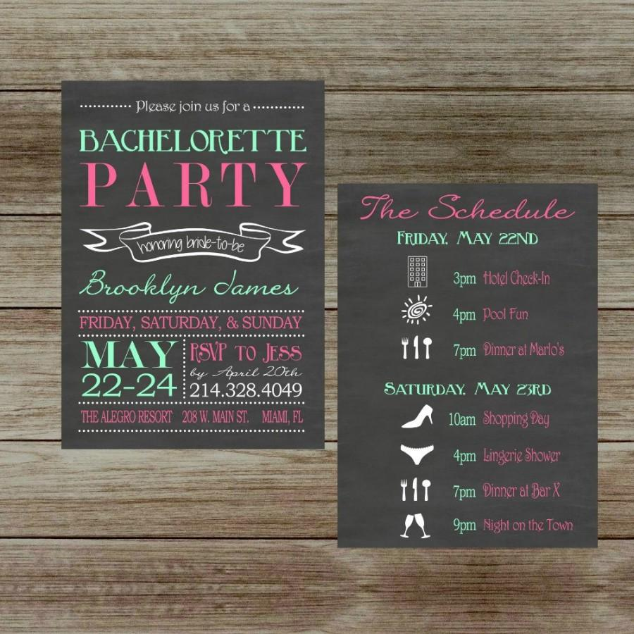 Chalkboard Bachelorette Party Invitation With Schedule Two Sided ...