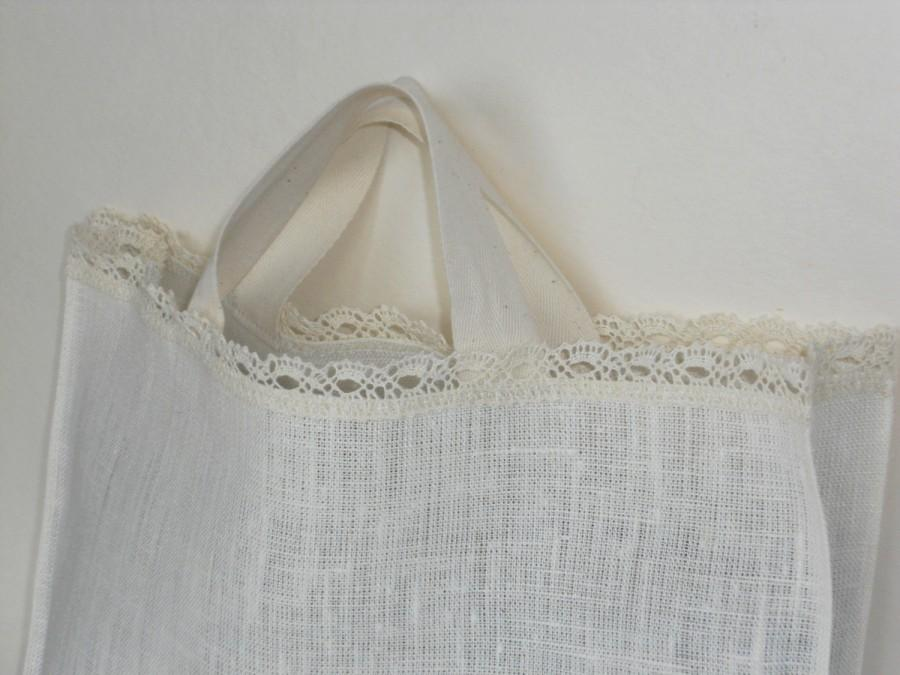 Свадьба - Linen tote bag white linen and lace wedding bridal favor tote bag