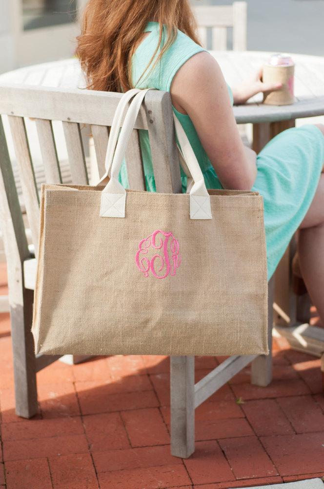 زفاف - Bride and Bridesmaids Gifts Burlap Tote Bag, Personalized Gifts, Burlap Personalzed Tote Set of 5