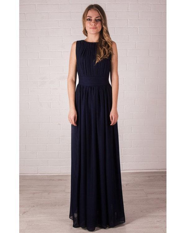 Wedding - Bridesmaid Navy Blue Dress.Chiffon Maxi Dress Wedding Draped.Evening Long Dress Occasion