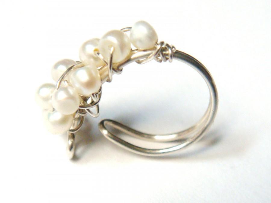 Mariage - Pearl Ear Cuff - Wire Wrap Ear Cuff - Sterling Silver Ear Cuff