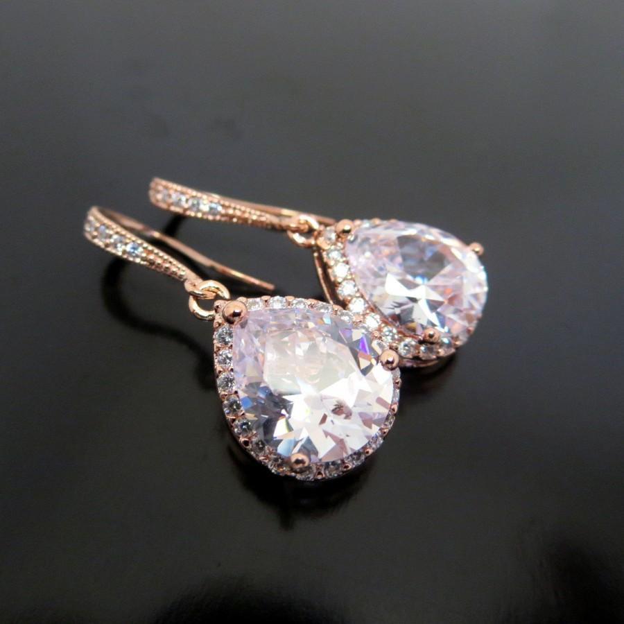 Wedding - Bridal Earrings Bridesmaid Gift Wedding Earrings Bridal Jewelry Rose Gold clear white cubic zirconia Crystal tear drop Wedding Earrings